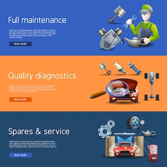 Auto-reparatur-cartoon-banner-set