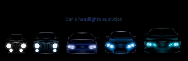 Auto scheinwerfer evolution, leuchtende frontscheinwerfer banner