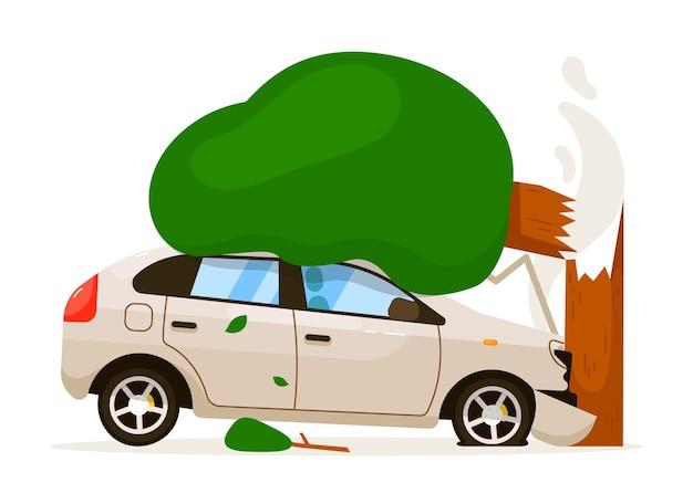 Auto schlug baum. isolierter autoschlagbaum mit stoßstange wegen geschwindigkeitsantrieb. frontalhaube schaden verkehrsunfall risiko versicherung illustration auf weißem hintergrund