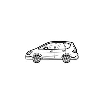 Auto seitenansicht handgezeichnete umriss doodle symbol. transport- und automobil-, antriebs- und reisekonzept