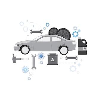 Auto-service-automechaniker-geschäfts-netz-fahnen-vektor-illustration