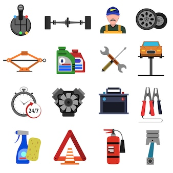 Auto service icons flat set