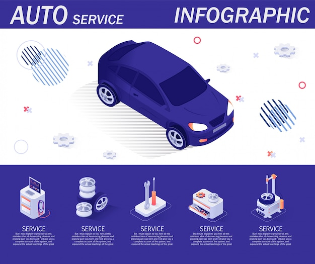 Auto-service-infografik-vorlage mit isometrischen elementen