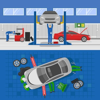 Auto-service-kompositionen mit werkstattinnenraum und reparatur des sichtwagens von oben isoliert
