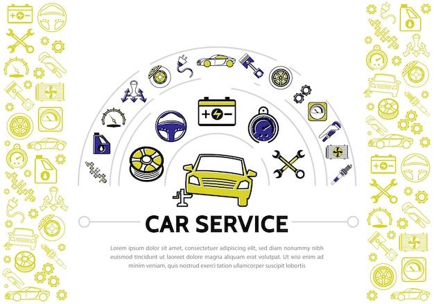 Auto service line icons zusammensetzung mit stoßdämpfer öl tacho getriebe bremsscheibe kolben