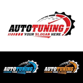 Auto service logo geschwindigkeit vektor logo design tachometer symbol vorlage premium-vektor