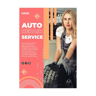 Auto service mechaniker flyer v