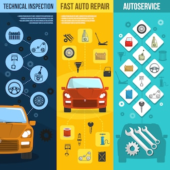 Auto service vertical banner set