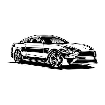 Auto sportwagen silhouette schwarz-weiß-stil