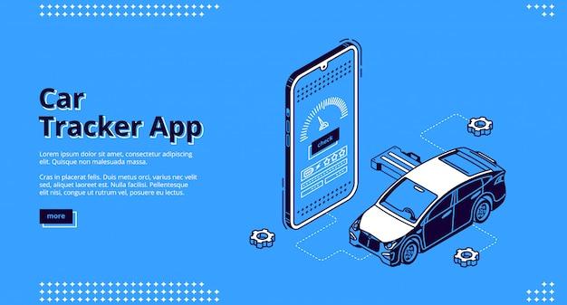 Auto tracker app isometrische landing page gps-service