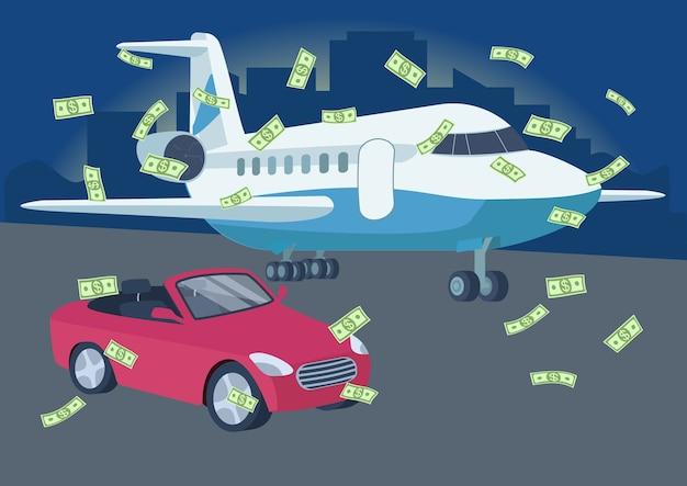 Auto und flugzeug mit geldregen flache farbillustration. lotterie gewinnen. reichtum. wohlhabender lebensstil. rote konvertierbare auto- und flugzeug-2d-karikaturobjekte mit stadtbild auf hintergrund