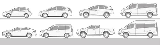 Auto unterschiedliche icon-set zeichnung vektor-illustration