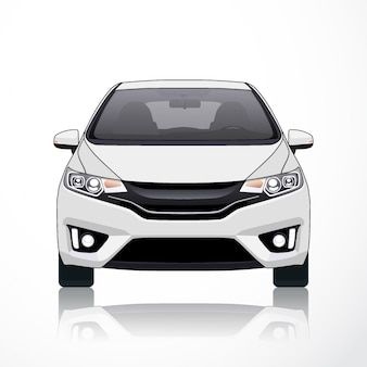 Auto vektor vorlage auf weißem hintergrund. business-limousine isoliert. hatcback-modell oder kurze limousine.