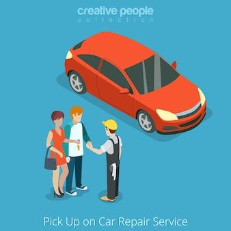 Auto vom reparaturfahrzeug-servicekonzept abholen