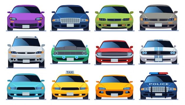 Auto vorderansicht eingestellt. modellautos für städtische verkehrsfahrzeuge. polizei und taxifarbe schnell auto verkehr fahren flache sammlung