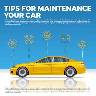 Auto wartung tippt vektorabbildung. gelbes auto und linie ikonen auf blauem hintergrund mit reflexion.