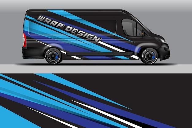 Auto-wrap-firmendesign-vektor grafische hintergrunddesigns für fahrzeuglieferwagen-lackierung