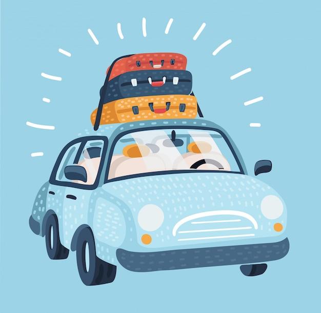 Auto zum reisen. fahrzeugtransport mit gepäck. blaues auto für familienausflug, seitenansicht.