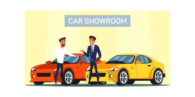 Autoausstellungsraumillustration. mann kauft neues luxusfahrzeug. autohausservice. auto käufer und verkäufer zeichentrickfiguren. shop-berater hilft kunden bei der auswahl des automobils