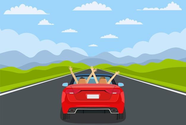 Autobahnfahrt mit schöner landschaft.