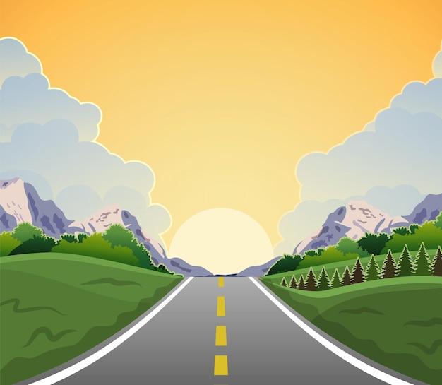 Autobahnfahrt mit schöner sonnenaufgangslandschaft
