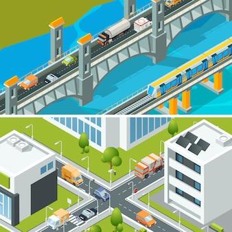 Autobahnkreuzung verkehr. stadtlandschaft isometrisch mit beschäftigter illustration der stadt 3d der verschiedenen fahrzeugautobusse