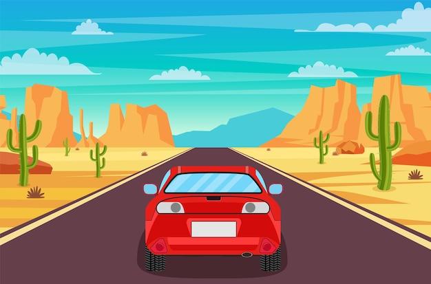 Autobahnstraße in der wüste.