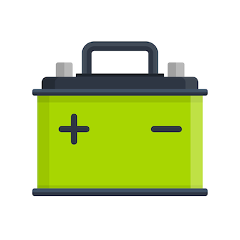 Autobatteriesymbol lokalisiert auf weißem hintergrund. akku batterie energie strom und strom akku batterie. batteriespeicher auto autoteile stromversorgung strom in flachem stil.