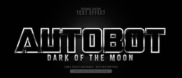 Autobot. glänzender metallischer moderner bearbeitbarer texteffekt, geeignet für kino- und filmtitel