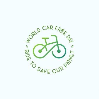 Autofreier tageslogosymbol mit fahrrad