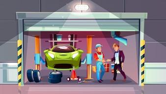 Autogarageereifen-Wechselersatzillustration. Mechaniker und Kunde geben sich die Hand