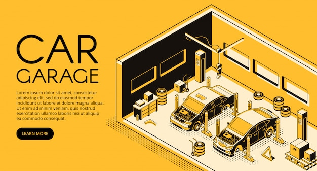 Autogarereauto-reparaturmechaniker-stationsillustration in der isometrischen schwarzen dünnen linie design