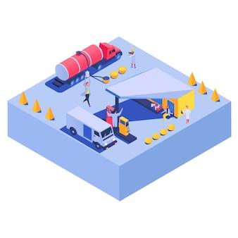Autogas-kraftstoffgeschäfts-transportgeschmackskonzept auf charaktermaschinenbenzin-automobilillustration. tankstelle.