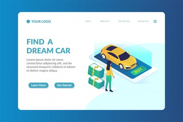 Autohändler isometrische website-landingpage-vorlage