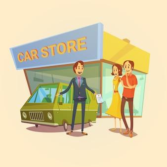 Autohändler- und kundenkarikaturkonzept mit autohausgebäude vector illustration