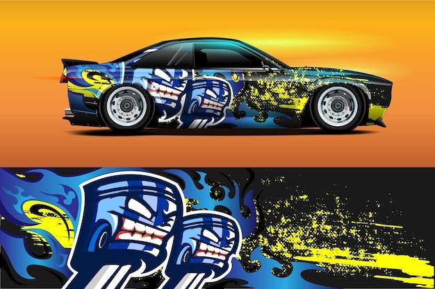 Autolackierdesign mit sportlichem abstraktem hintergrund