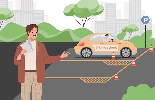 Autolehrer, der jungen mann lehrt, ein auto während zu fahren