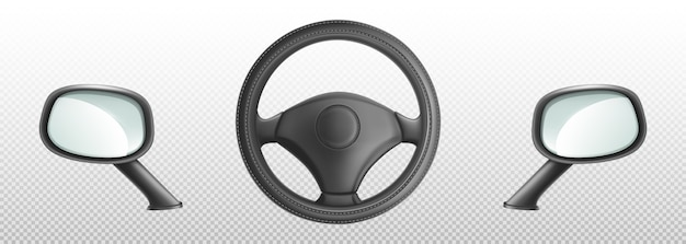 Autolenkrad und seitliche rückspiegel