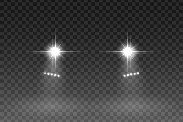 Autolichtblitzeffekt auf transparenten hintergrund.