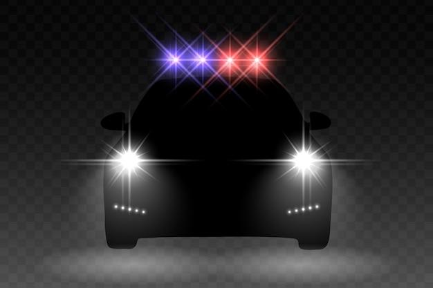 Autolichtblitzeffekt mit mit hellem blinker auf einem polizeiwagen