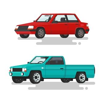 Autolimousine und ein pickup auf einer weißen hintergrundillustration