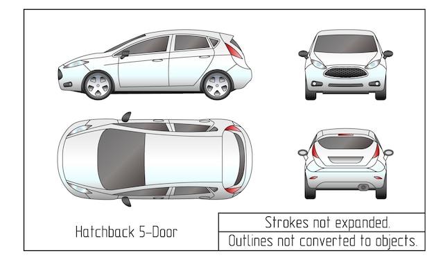 Autolimousinen und geländewagen zeichnen umrisse nicht in objekte umgewandelt