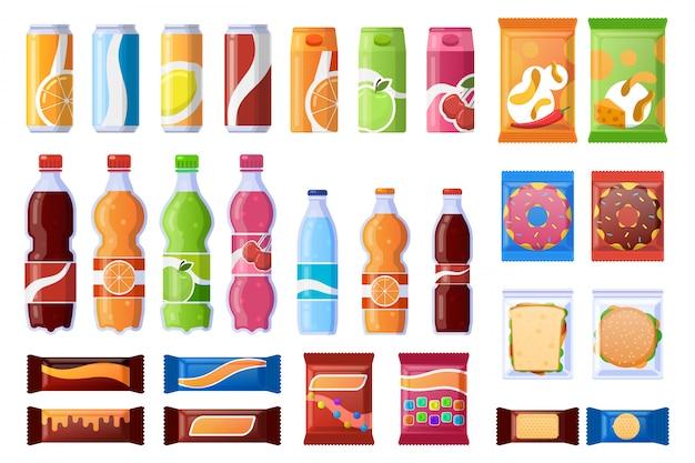 Automaten-snack. getränke, süßigkeiten und wrapper snack, soda, wasser. verkaufsprodukte, maschinenleiste snacks illustration symbole gesetzt. snackbox, flasche und mittagessen in verpackung