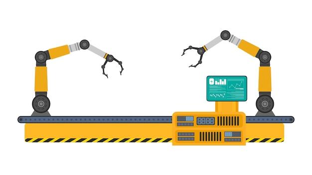 Automatische förderstrecke mit roboterarmen. automatische operation. industrieroboterarm mit kästen. moderne industrietechnik. geräte für produzierende unternehmen.