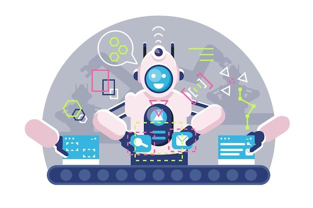 Automatische roboter-bot-arme, die am förderband arbeiten