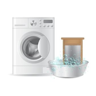 Automatische waschmaschine und geripptes handwaschbrett im metallbassin