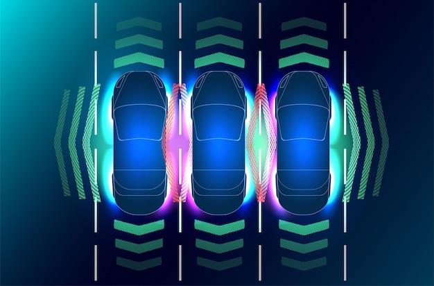 Automatisches bremssystem verhindert autounfall durch autounfall.
