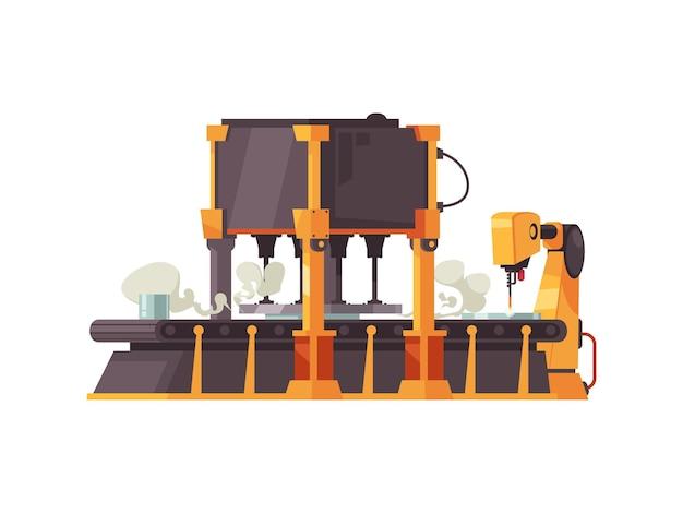 Automatisches roboterförderband in flachem design auf weiß
