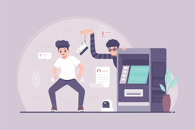 Automatisierte geldautomaten-hacking-konzeptillustration des kassierers