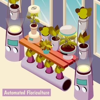 Automatisierte isometrische illustration des blumenanbaus